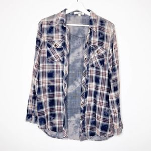 LIFE IN PROGRESS Plaid Button Down Bleach Shirt